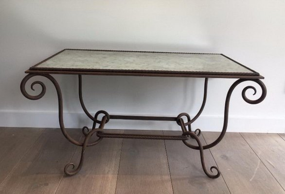 French Wrought And Hammered Iron Coffee Table With Faux Antique Mirror Top  By René Prou