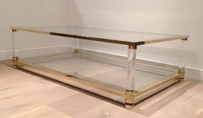 Large Lucite And Br Coffee Table 1970s 1