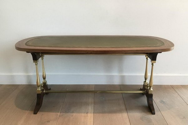 Neoclassical Style Wood Brass And Leather Coffee Table 1940s