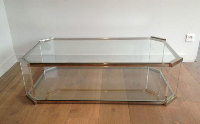 Couchtisch Chrom Glas ~ Großer achteckiger glas plexiglas und chrom couchtisch 1970er bei