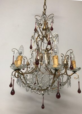 Vintage Crystal Beaded Chandelier with Murano Glass Pendant Drops