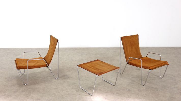 Model 3350 Bachelor Chairs With Footstools By Verner Panton For Fritz  Hansen, 1967, Set