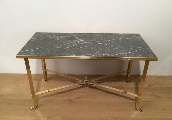 Marble Top Brass Coffee Table.Brass Coffee Table With Claw Feet Faux Marble Top 1940s