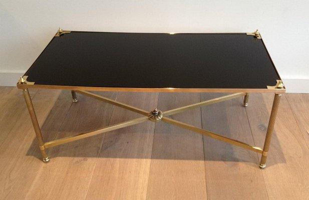 Tavolino da caffè neoclassico in ottone e vetro laccato nero di