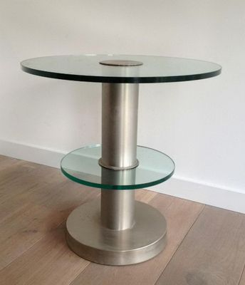 Glass Brushed Steel Occasion Table 1970s For Sale At Pamono