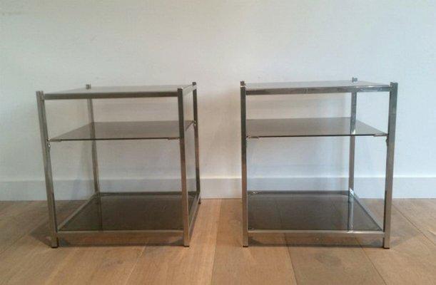 Tavolini a tre ripiani in vetro e placcati in cromo, anni \'40, set di 2