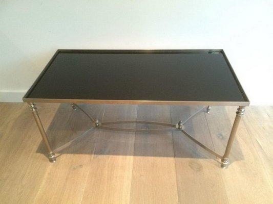 Tavolino da caffè argentato con ripiano in vetro laccato nero