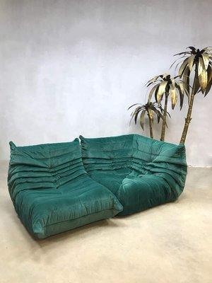 Vintage Samt Togo Sofa Von Michel Ducaroy Für Ligne Roset 1970er