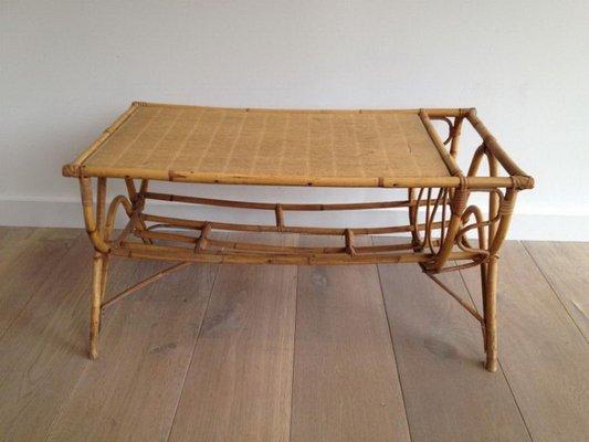 Mid Century Rattan Coffee Table With Magazine Rack