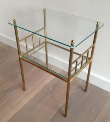 Two Tier Brass Glass Side Table S For Sale At Pamono - Two tier glass side table