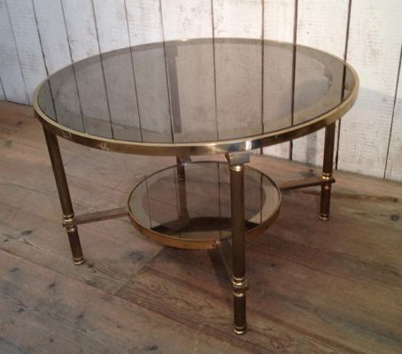Mid Century Round Br Gl Two Tier Coffee Table 2