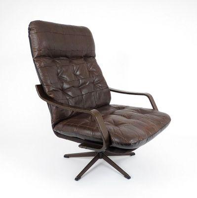 Skandinavischer Holz Leder Sessel 1960er Bei Pamono Kaufen