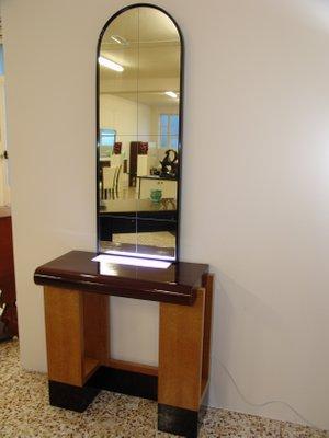 Consolle Art Déco con specchio, Italia, anni \'30 in vendita su Pamono