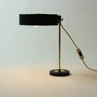 Vintage Czech Brass Black Metal Table, Black Metal Desk Lamps