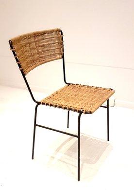 Sedie in vimini e ferro battuto, anni \'60, set di 4 in vendita su Pamono