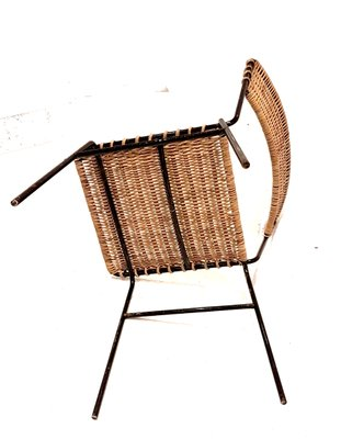 Tavolo E Sedie Rattan.Wicker And Wrought Iron Side Chairs 1960s Set Of 4 For Sale At
