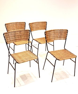 Wicker And Wrought Iron Side Chairs 1960s Set Of 4
