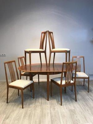 Ausziehbarer Runder Tisch Mit 6 Stühlen Von Lübke, 1960er 3