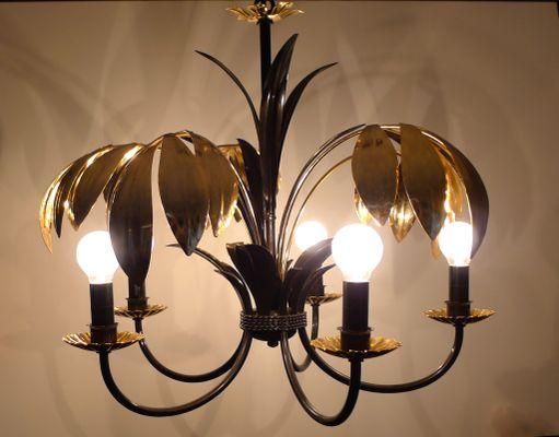 Kronleuchter Barock Schwarz ~ 5 armiger kronleuchter mit metall palmenblättern in schwarz und gold