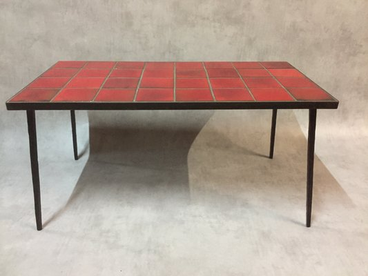French Red Ceramic And Wrought Iron Coffee Table 1950s 1