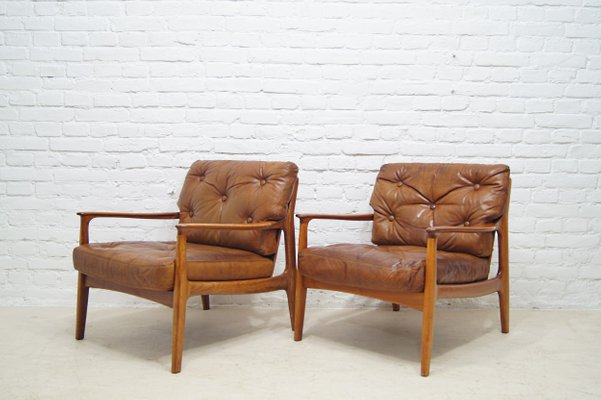 Marvelous Mid Century Teak Leather Lounge Chairs By Eugen Schmidt For Soloform Set Of 2 Ibusinesslaw Wood Chair Design Ideas Ibusinesslaworg