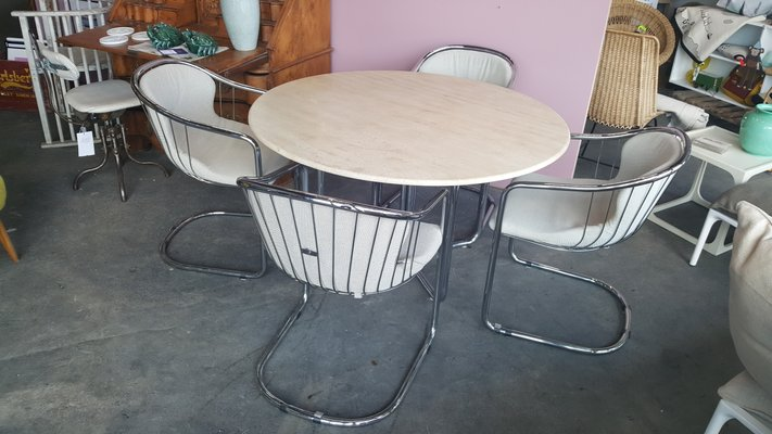 Mid Century Dining Table And Cantilever Chairs In Tubular Steel 1