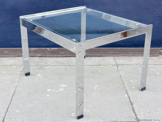 Small Rectangular Gl Chrome Coffee Table By Richard Young For Merrow Ociates