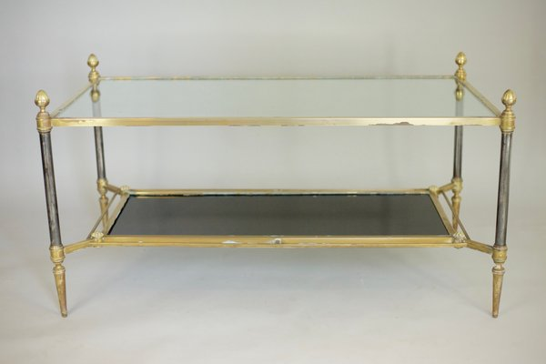 French Bronze, Steel U0026 Glass Coffee Table From Maison Jansen, 1960s