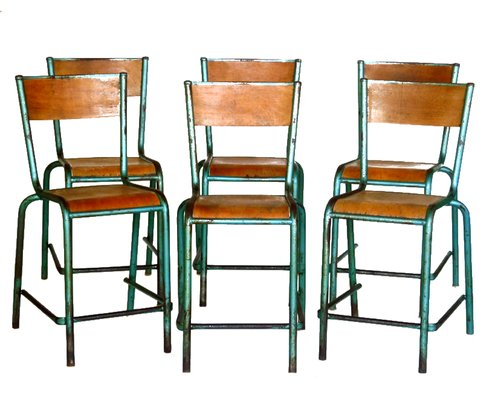 Charmant Vintage French Industrial Design Chairs, Set Of 6 1
