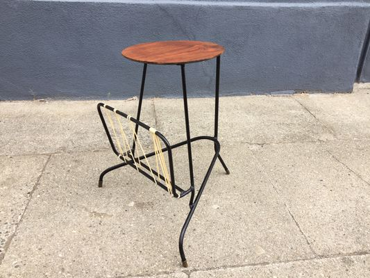 Vintage Danish Tripod Side Table With Magazine Rack 1950s 1
