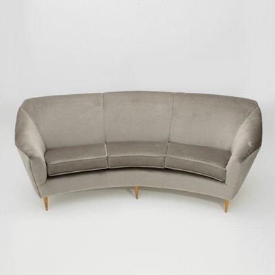 Italian 3 Seater Grey Velvet Sofa 1950s 1