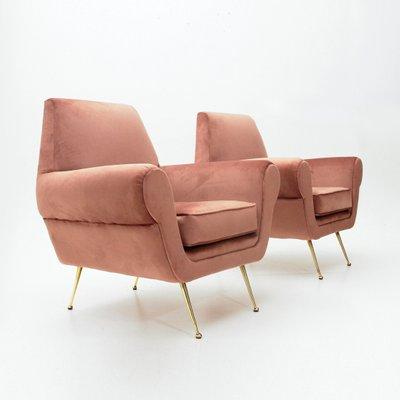 Superbe Italian Pink Velvet Armchairs, 1950s, Set Of 2 2