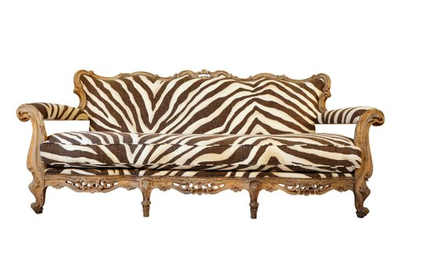 Antique Italian Sofa with Ralph Lauren Zebra Upholstery 1 - Antique Italian Sofa With Ralph Lauren Zebra Upholstery For Sale At