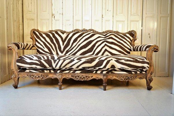 Antique Italian Sofa With Ralph Lauren Zebra Upholstery 2