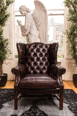 Groovy Vintage Leather Wingback Chair Gmtry Best Dining Table And Chair Ideas Images Gmtryco
