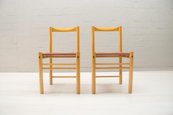 Sedie Industrial Design.Italian Leather And Wood Chairs From Ibisco Sedie 1960s Set Of 2