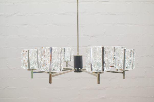 Kronleuchter Vintage Silber ~ Deutscher vintage kronleuchter aus chrom und kristallglas er