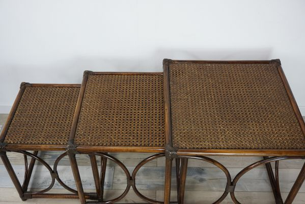 Bon Rattan U0026 Cane Nesting Tables, 1960s 6