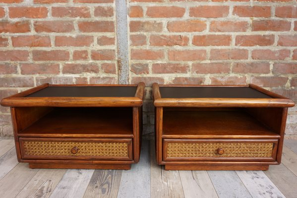 Rattan Cane And Black Leatherette Nightstands 1960s Set Of 2 For