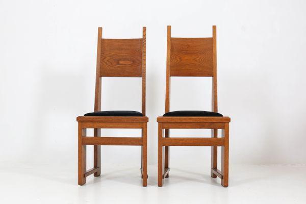 Sedie Schienale Alto Legno : Sedie art déco con schienale alto in legno di quercia di henk