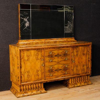 Credenza Art Déco con specchio in radica di noce in vendita su Pamono