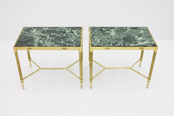 Italian Brass Side Tables With Green Marble Tops, 1960s, Set Of 2 1
