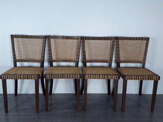 Sedie vintage moderniste in legno e corda di jan vanek per
