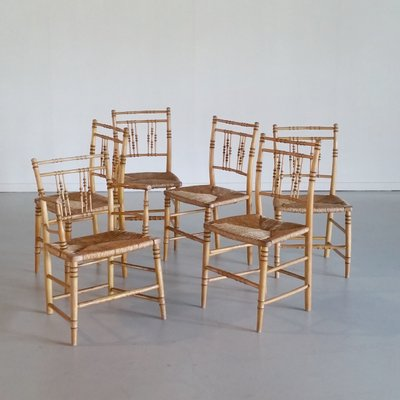 Attrayant 19th Century Faux Bamboo Chairs, Set Of 6 2