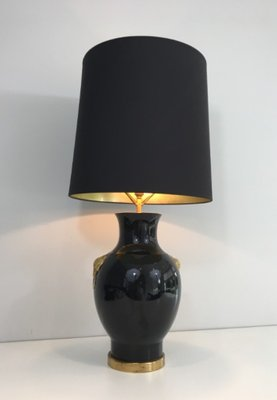 French Black Gold Ceramic Table Lamp 1970s For Sale At Pamono