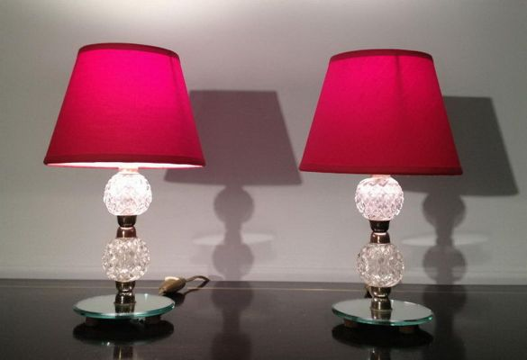 Small Gl Mirror Table Lamps 1950s Set Of