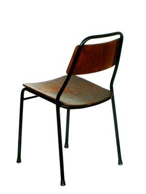 Chaises D Ecole Industrielles En Fer Et Bois Italie 1950s Set De 4