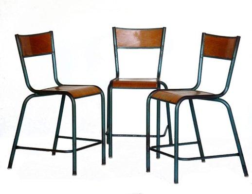 Sedie industriali vintage, set di 3 in vendita su Pamono
