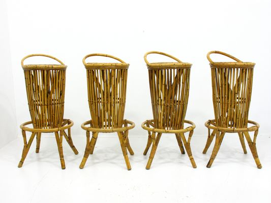 Vintage Italian Rattan Bar Stools, 1960s, Set Of 4 1