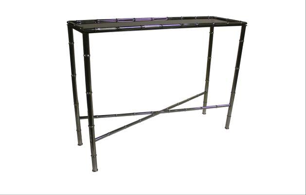 Faux Bamboo U0026 Chrome Console Table, 1960s 1